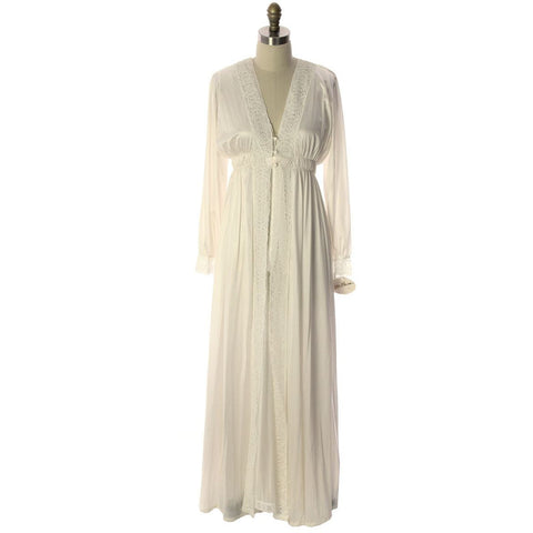 VTG Miss Elaine  Blush White Nylon Bridal Peignoir O/S  NWT Large 1960s