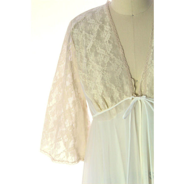 VTG Val Mode GRANDE SWEEP White Nylon Bridal Peignoir NWOT Large 1960s
