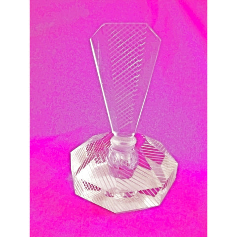 Vintage Lead Cut Crystal Paperweight Perfume Bottle Art Deco Bubble 7.5 Tall - The Best Vintage Clothing  - 1