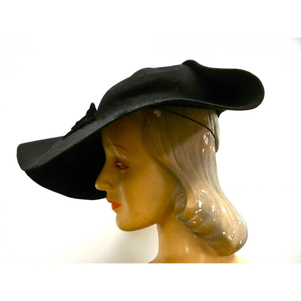 Vintage Ladies Black Felt Picture Hat Very Dramatic 1940s Large Fascinator - The Best Vintage Clothing  - 2