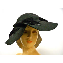 Vintage Ladies Black Felt Picture Hat Very Dramatic 1940s Large Fascinator - The Best Vintage Clothing  - 1