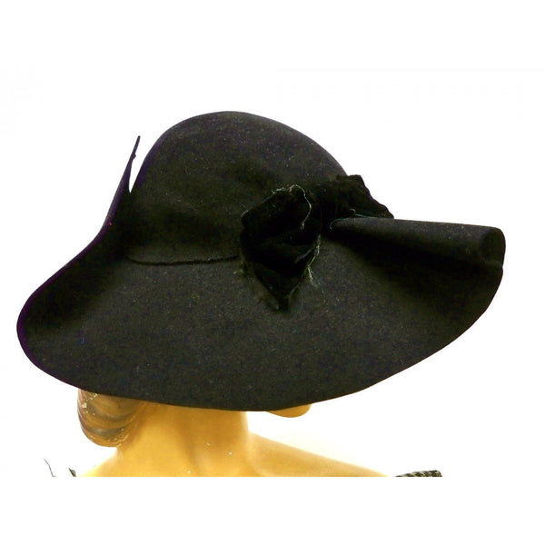 Vintage Ladies Black Felt Picture Hat Very Dramatic 1940s Large Fascinator - The Best Vintage Clothing  - 3
