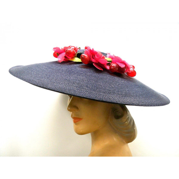 Vintage Navy Extra Wide-Brim Straw Saucer Hat On Cap 1940'S Poppies & Grapes - The Best Vintage Clothing  - 2