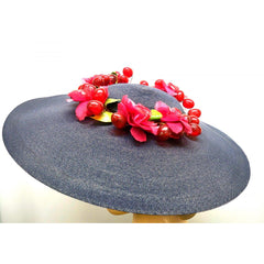 Vintage Navy Extra Wide-Brim Straw Saucer Hat On Cap 1940'S Poppies & Grapes - The Best Vintage Clothing  - 3