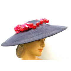 Vintage Navy Extra Wide-Brim Straw Saucer Hat On Cap 1940'S Poppies & Grapes - The Best Vintage Clothing  - 5