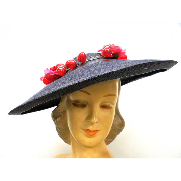 Vintage Navy Extra Wide-Brim Straw Saucer Hat On Cap 1940'S Poppies & Grapes - The Best Vintage Clothing  - 1