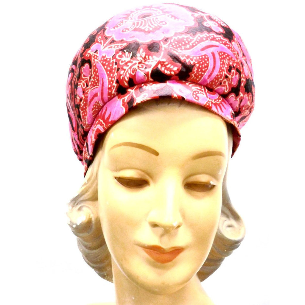 Vintage Hat Halston Silk Abstract Print Pinks & Reds 1970S - The Best Vintage Clothing  - 1