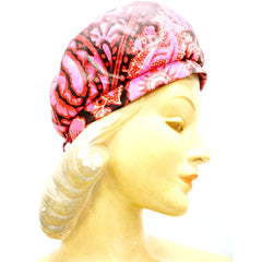 Vintage Hat Halston Silk Abstract Print Pinks & Reds 1970S - The Best Vintage Clothing  - 2