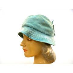 Vintage Hat Cloche  Turquoise Velvet Hat Jean Barthet Paris 1950S Small - The Best Vintage Clothing  - 2