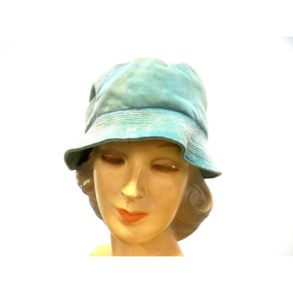 Vintage Hat Cloche  Turquoise Velvet Hat Jean Barthet Paris 1950S Small - The Best Vintage Clothing  - 1