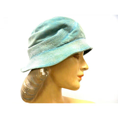 Vintage Hat Cloche  Turquoise Velvet Hat Jean Barthet Paris 1950S Small - The Best Vintage Clothing  - 3
