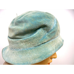 Vintage Hat Cloche  Turquoise Velvet Hat Jean Barthet Paris 1950S Small - The Best Vintage Clothing  - 4