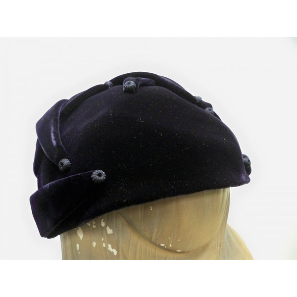 Vintage Womens Cocktail Hat Deep Eggplant Silk Velvet Skull Cap 1950S - The Best Vintage Clothing  - 2