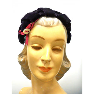 Vintage Womens Cocktail Hat Deep Eggplant Silk Velvet Skull Cap 1950S - The Best Vintage Clothing  - 1