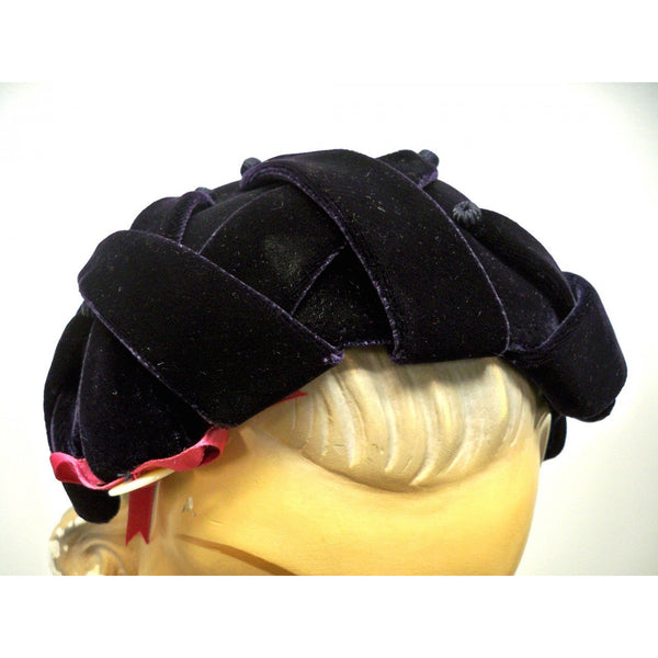 Vintage Womens Cocktail Hat Deep Eggplant Silk Velvet Skull Cap 1950S - The Best Vintage Clothing  - 3