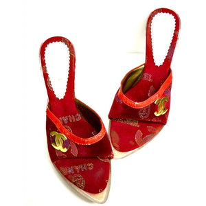 "Ladies Stiletto Heels Lucite 4"" Heel Red/Gold Fancy SZ 6.5 - The Best Vintage Clothing  - 1"