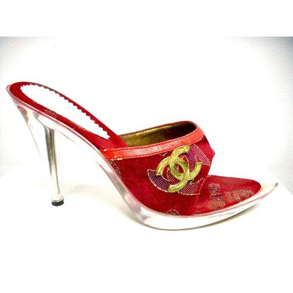 "Ladies Stiletto Heels Lucite 4"" Heel Red/Gold Fancy SZ 6.5 - The Best Vintage Clothing  - 2"