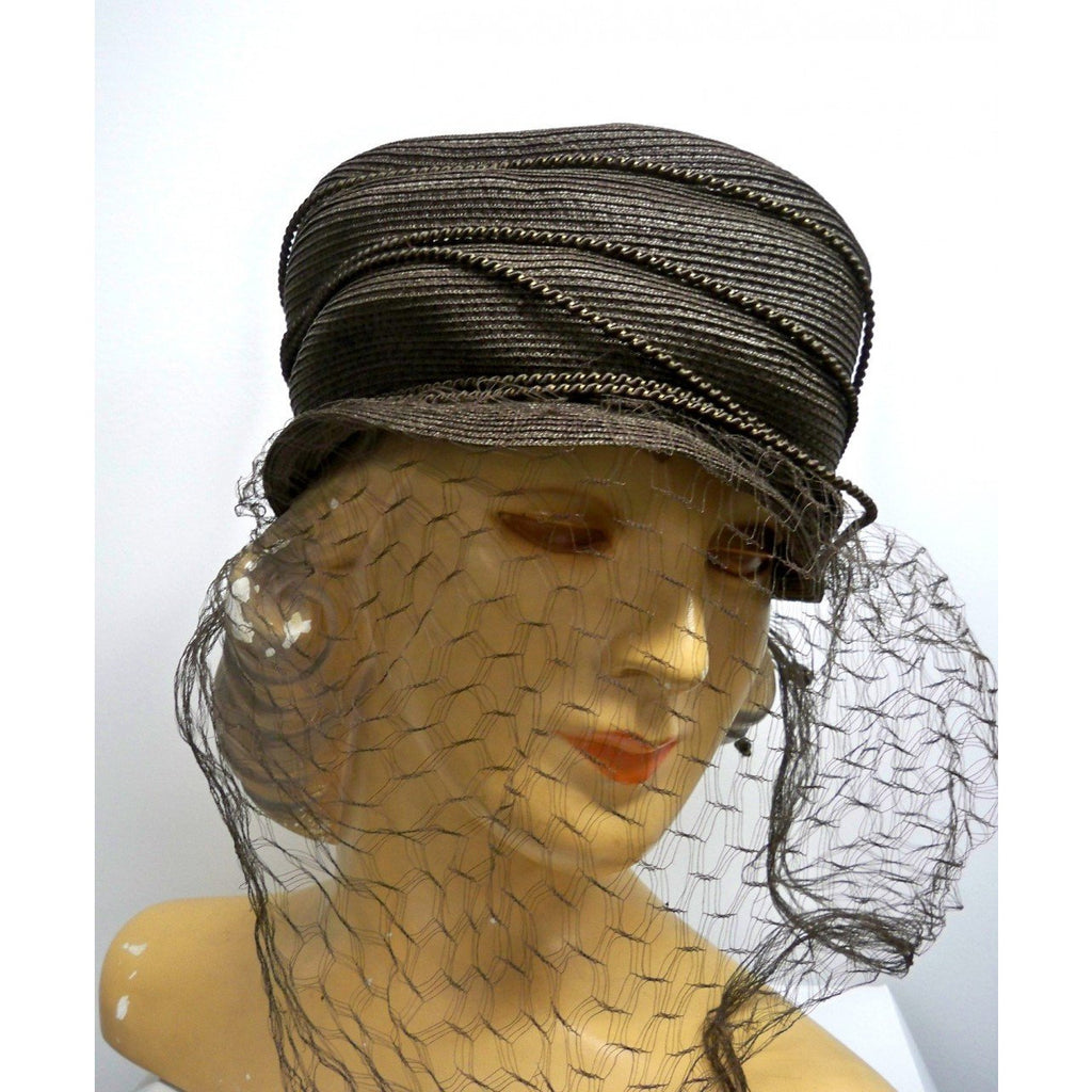 Vintage Straw Semi-Cloche Hat Taupe Creations De Lorelie 1940s Dramatic - The Best Vintage Clothing  - 1