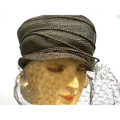 Vintage Straw Semi-Cloche Hat Taupe Creations De Lorelie 1940s Dramatic - The Best Vintage Clothing  - 2