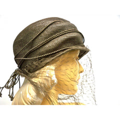 Vintage Straw Semi-Cloche Hat Taupe Creations De Lorelie 1940s Dramatic - The Best Vintage Clothing  - 3