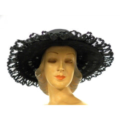Ladies Wide Brimmed Horsehair Straw Lace Hat 1960s Robin New York - The Best Vintage Clothing  - 1