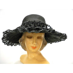 Ladies Wide Brimmed Horsehair Straw Lace Hat 1960s Robin New York - The Best Vintage Clothing  - 2