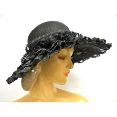 Ladies Wide Brimmed Horsehair Straw Lace Hat 1960s Robin New York - The Best Vintage Clothing  - 3