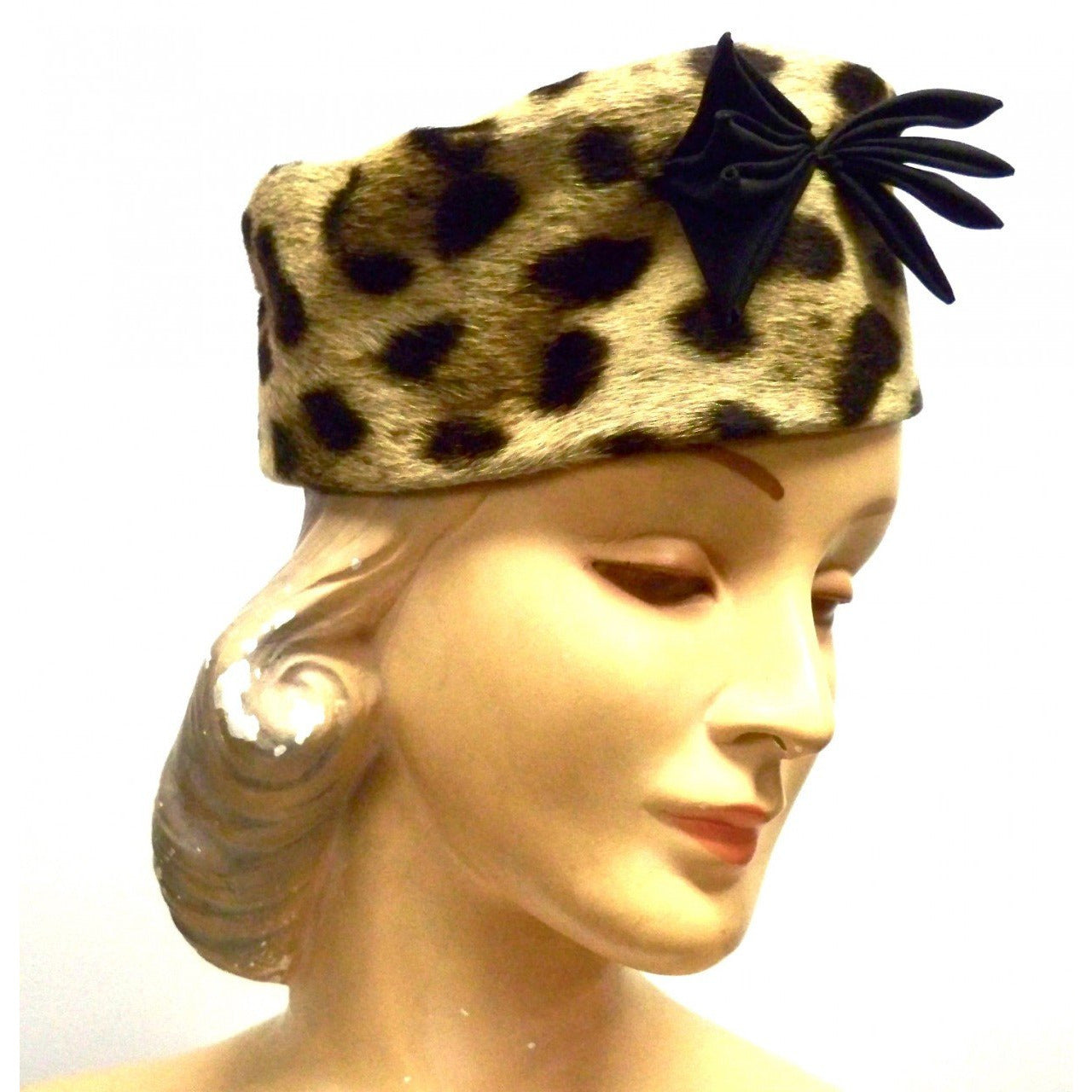 Vintage Ladies Pillbox Hat Genuine Cheetah Fur 1950s - The Best Vintage Clothing  - 1