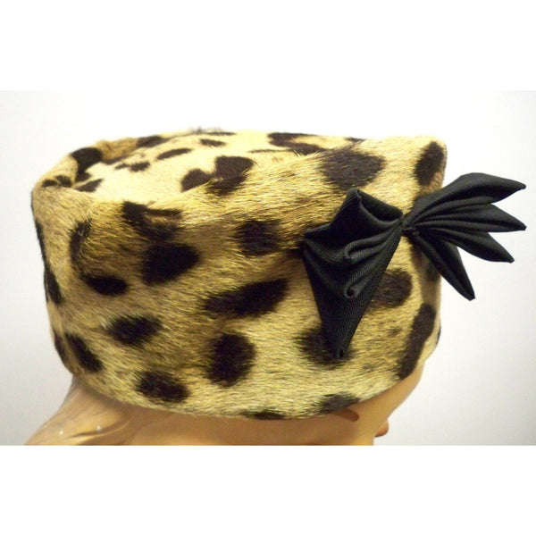 Vintage Ladies Pillbox Hat Genuine Cheetah Fur 1950s - The Best Vintage Clothing  - 2