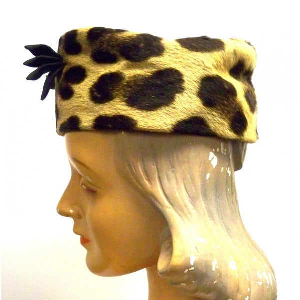 Vintage Ladies Pillbox Hat Genuine Cheetah Fur 1950s - The Best Vintage Clothing  - 3