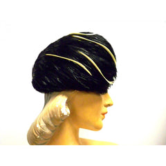 Vintage Ladies  Feather Hat  1950s Dramatic Black & Ivory - The Best Vintage Clothing  - 3
