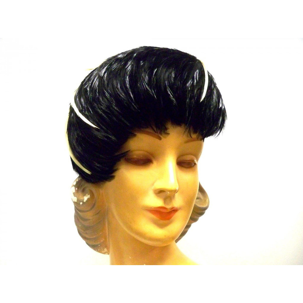 Vintage Ladies  Feather Hat  1950s Dramatic Black & Ivory - The Best Vintage Clothing  - 1
