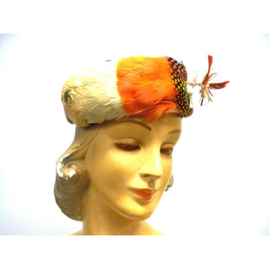 Vintage Pheasant Feather Pillbox Hat  1950s Oranges/ Polka Dots Modern Miss - The Best Vintage Clothing  - 1