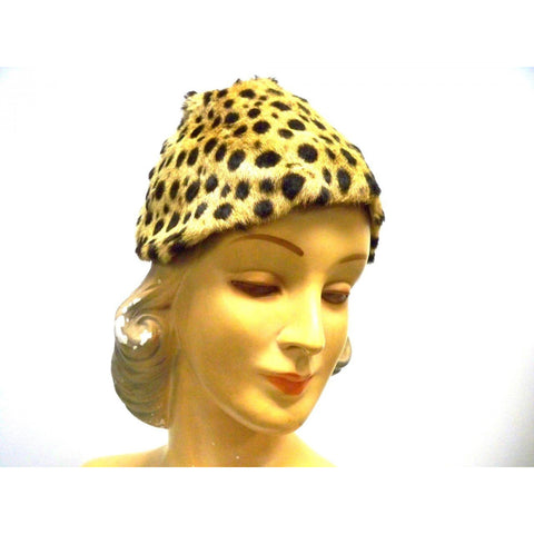 Vintage Cheetah Fur  Ladies Hat 1940s Adele List Vienna