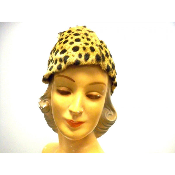 Vintage Cheetah Fur  Ladies Hat 1940s Adele List Vienna - The Best Vintage Clothing  - 2