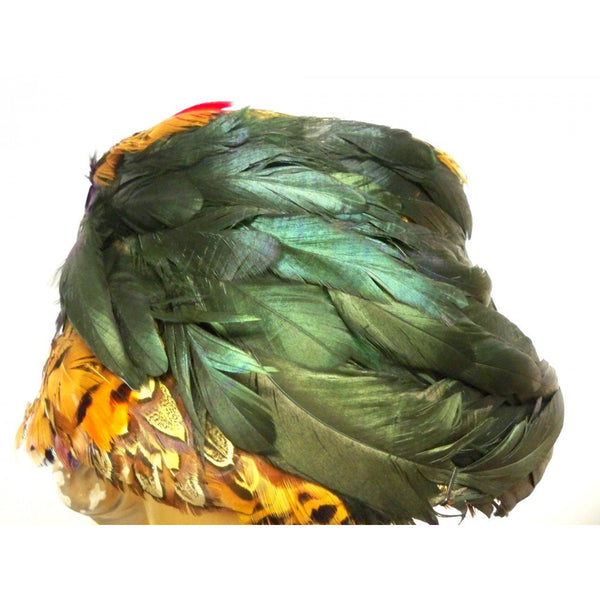 Vintage Pheasant Feather Hat Bucket Hat 1950s Green Iridescents Bernallen - The Best Vintage Clothing  - 2