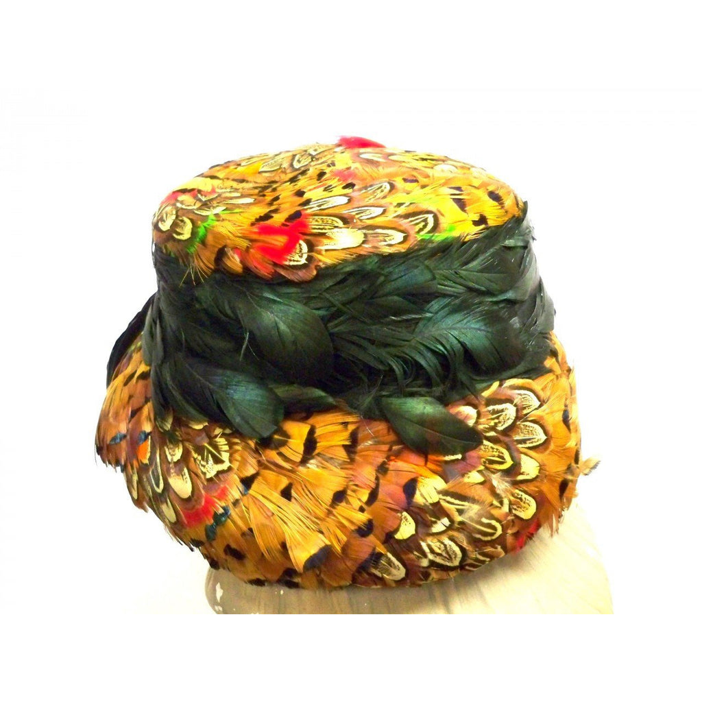 2a02f39241ba4 ... Vintage Pheasant Feather Hat Bucket Hat 1950s Green Iridescents  Bernallen - The Best Vintage Clothing -