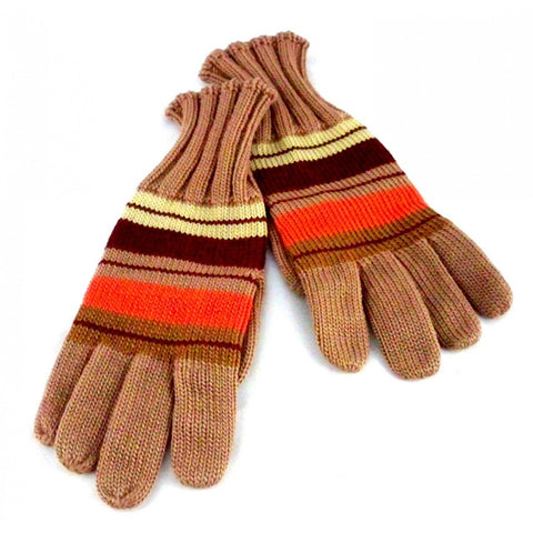 Vintage Wool Hand  Knit GlovesMocha w/ Orange  Stripes 1940s