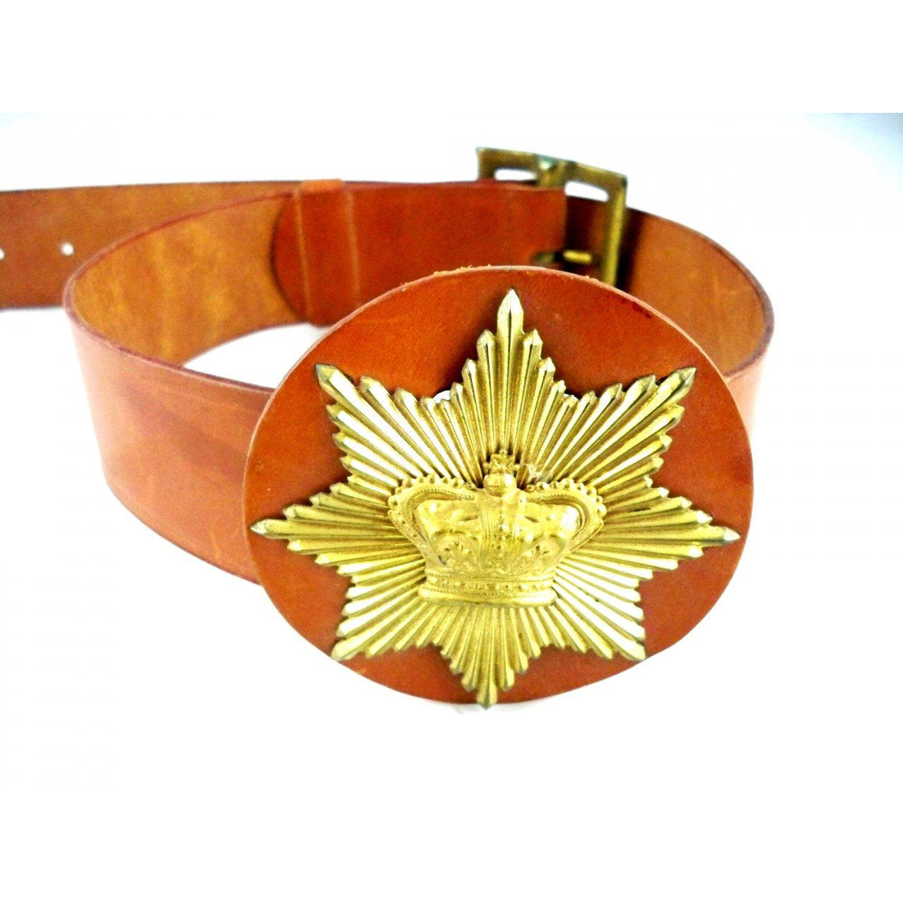 Vintage Ladies Leather Belt 1940s Size 26 Great Crown Emblem - The Best Vintage Clothing  - 1