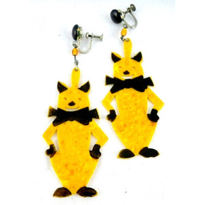 "Vintage Art Deco Celluloid Cat Earrings Amber & Black 2 1/2"" - The Best Vintage Clothing  - 1"