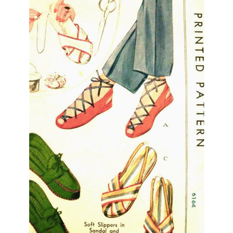 Vintage Sewing Pattern McCall 993 Soft Slippers in Sandal & Moccasin Style  1940s