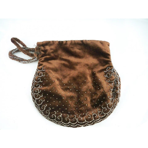 Vintage Chocolate Brown SIlk Velvet Purse Cut Steel Beads France 1920s