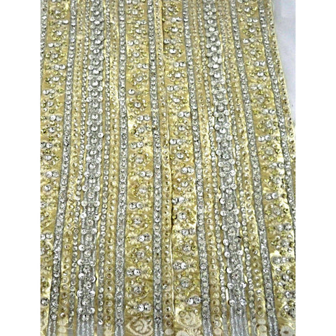 Vintage Panels  Rhinestone Studded /Beaded Metallic Silk Brocade 1960s