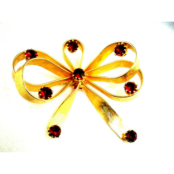Vintage Goldtone/ Ruby Red Stones  Bow Brooch Vogue Jewels 1950s - The Best Vintage Clothing  - 1