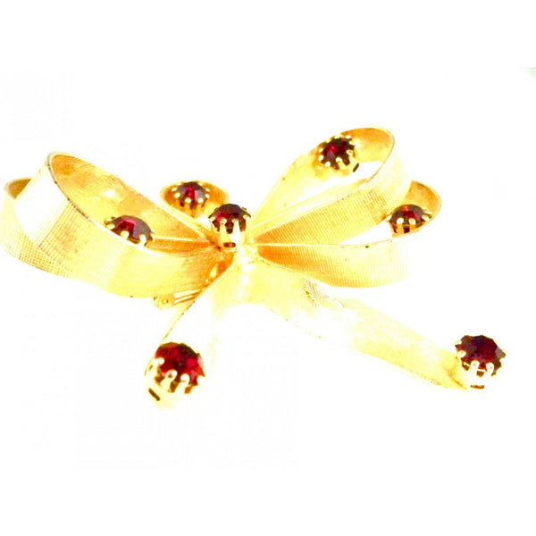 Vintage Goldtone/ Ruby Red Stones  Bow Brooch Vogue Jewels 1950s - The Best Vintage Clothing  - 2