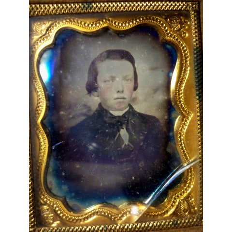 Antique Daguerreotype Young Boy in Gold Case
