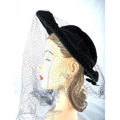 Vintage Black Widow Ladies Hat Velvet Wide Brim Full Veil 1940s - The Best Vintage Clothing  - 2