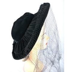 Vintage Black Widow Ladies Hat Velvet Wide Brim Full Veil 1940s - The Best Vintage Clothing  - 3