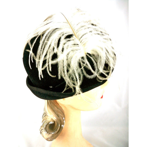 Stunning Vintage Ladies Black Hat w WHite Ostrich Feather Jack McConnell Boutique 1950s