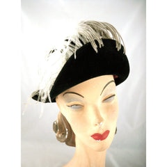 Stunning Vintage Ladies Black Hat w WHite Ostrich Feather Jack McConnell Boutique 1950s - The Best Vintage Clothing  - 2